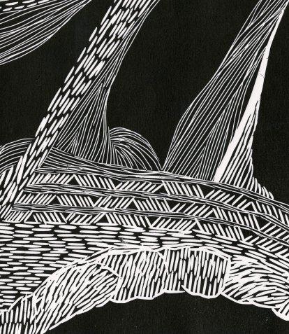 """Storyline"" (2017) linocut, detail"