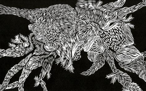 """Botanical"" (2016), linocut"