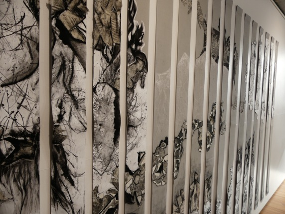 "Image: ""Interior Landscape"", 2016. Blinds collaged with mixed media (charcoal, pastel, ink on paper, copper plate etching and linocut on calico), detail. Photo: Tamika Grant-Iramu. Courtesy of the artist."
