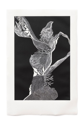 "Image: ""Carving Memories: propagation by roots III"", 2019. Vinyl-cut on Hahnemühle paper. Photo: Louis Lim. Courtesy of Onespace Gallery."