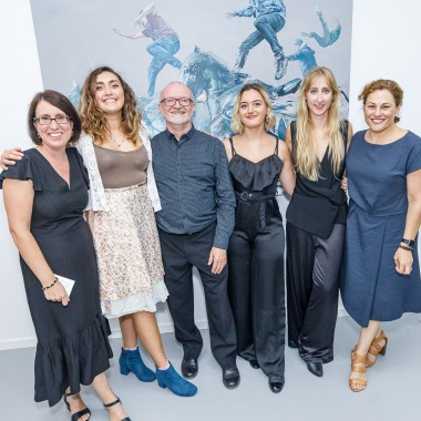 rightNOW Onespace Opening, February 2020. Left to right: Jodie Cox, Tamika Grant-Iramu, John Stafford, Taylor Hall, Alicia Hollier, Jackie Trad (Member for South Brisbane). Photo: Courtesy of Onespace Galley.